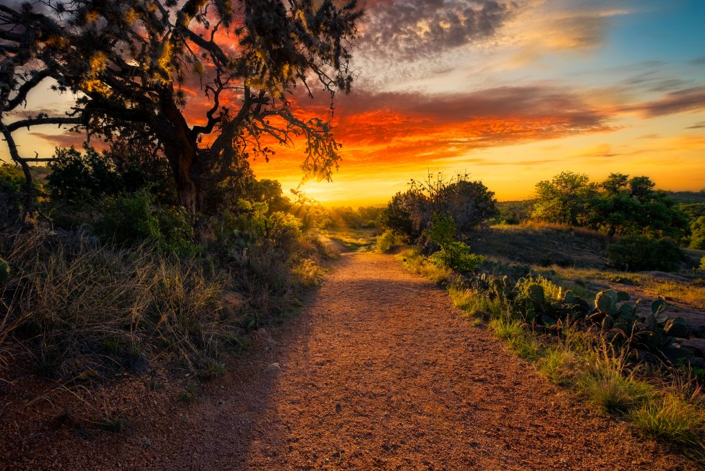trail at enchanted rock state natural area at sunrise