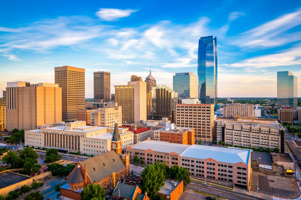 skyline of okc as seen from above, one of the best cities for weekend trips from san antonio