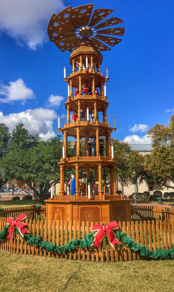 German style Christmas pyramid in Fredericksburg Texas on a sunny days, one of the best places to celebrate Christmas in Texas