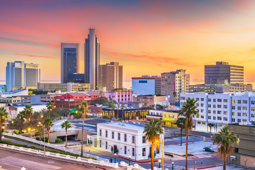 Corpus Christi Texas as seen from above at sunset, Corpus Christi things to do in