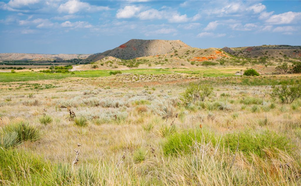 Alibates Flint National Monument in the Texas panhandle with a quarry visible in the distance
