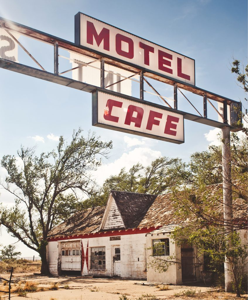 Abandoned motel and cafe in glenrio ghost town on route 66