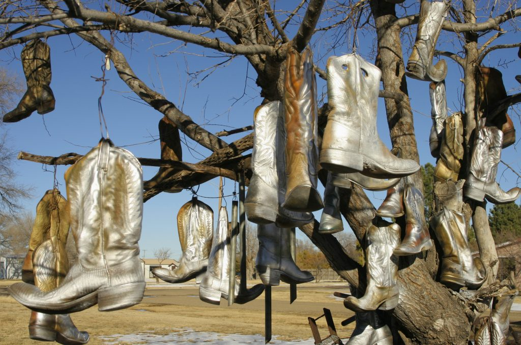 cowboy boots hanging from a tree in vega texas