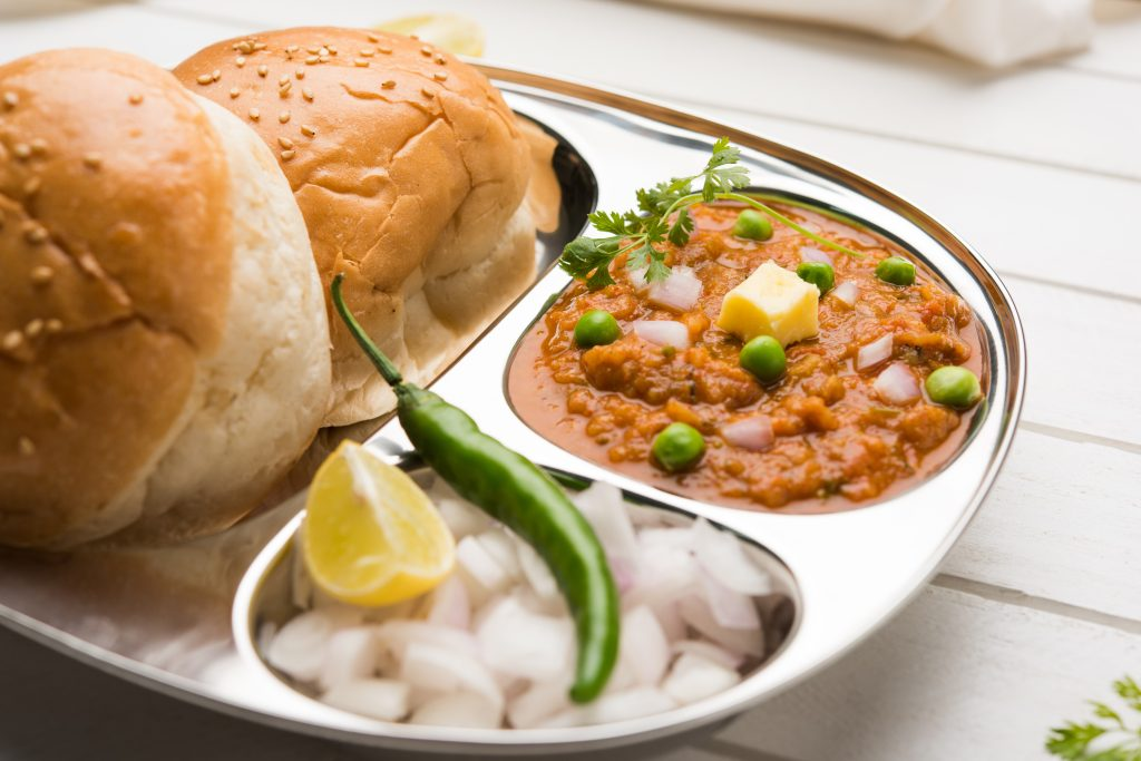 Silver platter of Pav bhaji, a popular indian street food