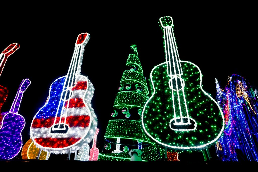 display of giant guitars made of christmas lights in austin, one of the best places to spend a texas christmas