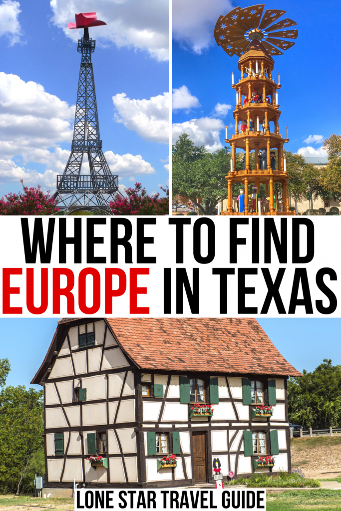 """3 photos of texas europe heritage: paris eiffel tower, german christmas pyramid, alsace building. black and red text on a white background reads """"where to find europe in texas"""""""