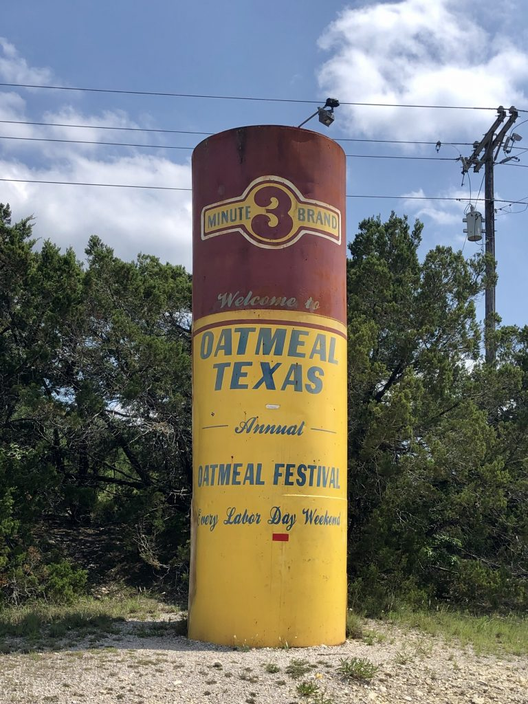 water tower painted as oatmeal canister in oatmeal texas