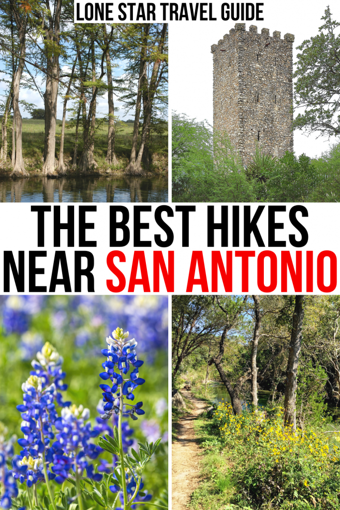 "4 photos of san antonio parks. black and red text on a white background reads ""the best hikes near san antonio"""