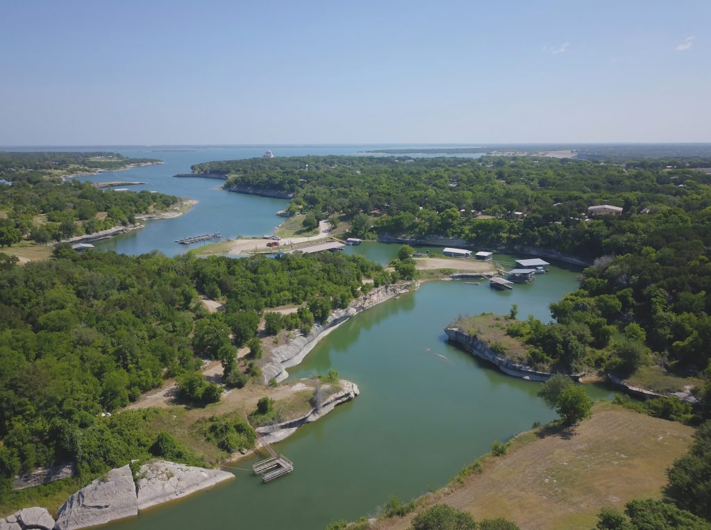 lake whitney from above, one of the best places to spend spring break in Texas