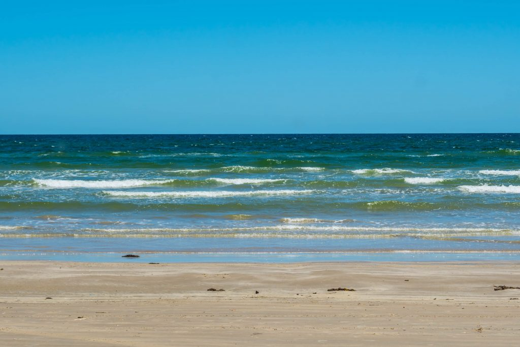beautiful clean beach with white sand beach orpus christi tx