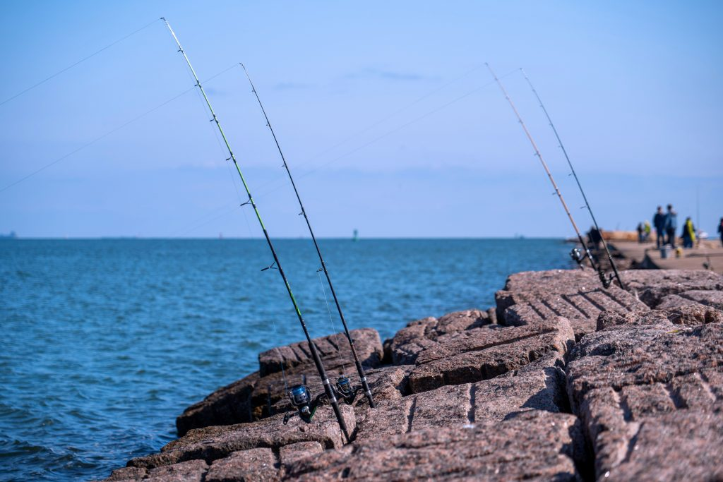 fishing poles set up on a jetty in texas