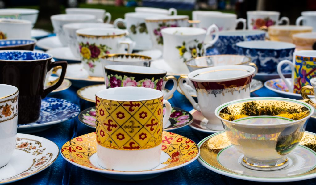 collection of mismatched vintage teacups, some of the treasures available at the best trade days in texas