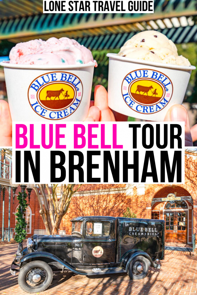 "photo of 2 scoops of ice cream and photo of old fashioned ice cream truck, pink and black text on white background reads ""blue bell tour in brenham"""