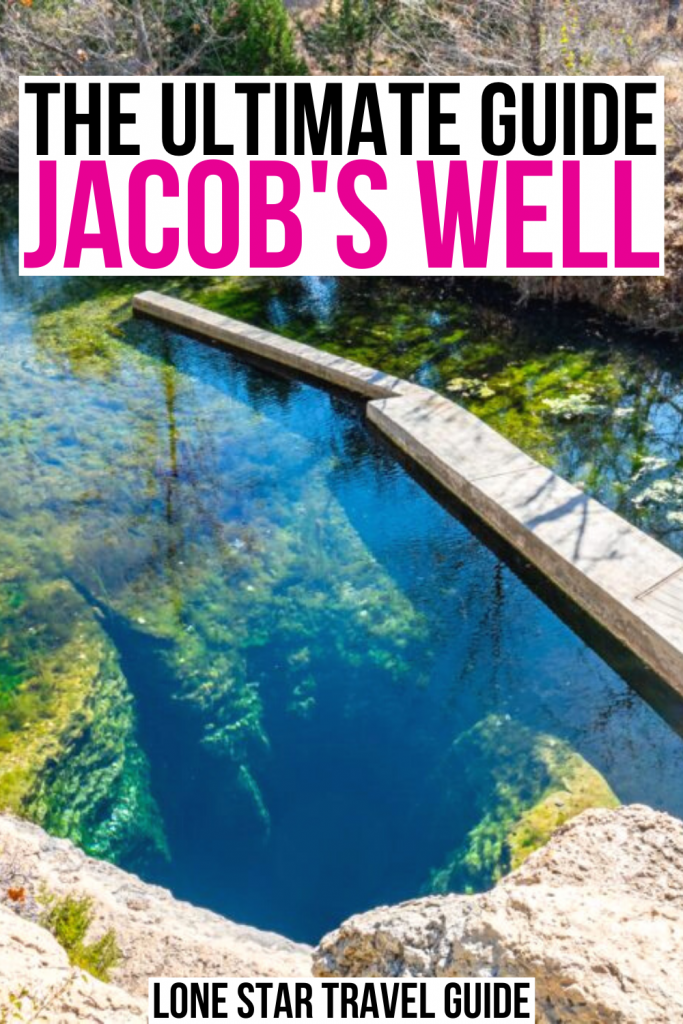 "view of jacobs well texas from above, black and pink text on a white background reads ""the ultimate guide jacob's well"""