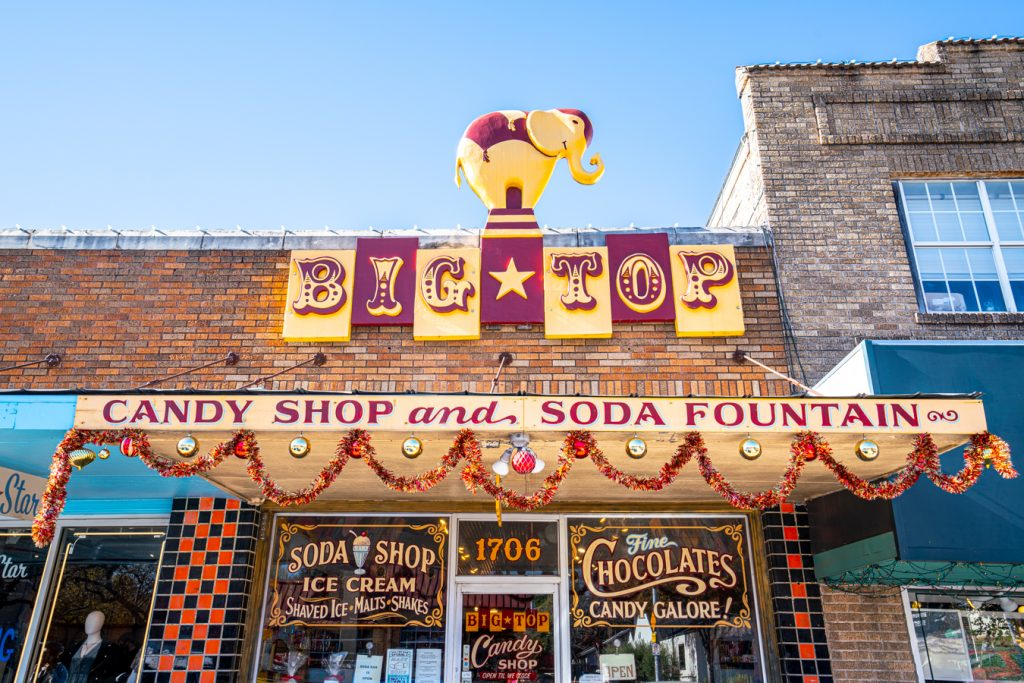 big top candy shop, one of the best shops on south congress austin, as seen from the outside