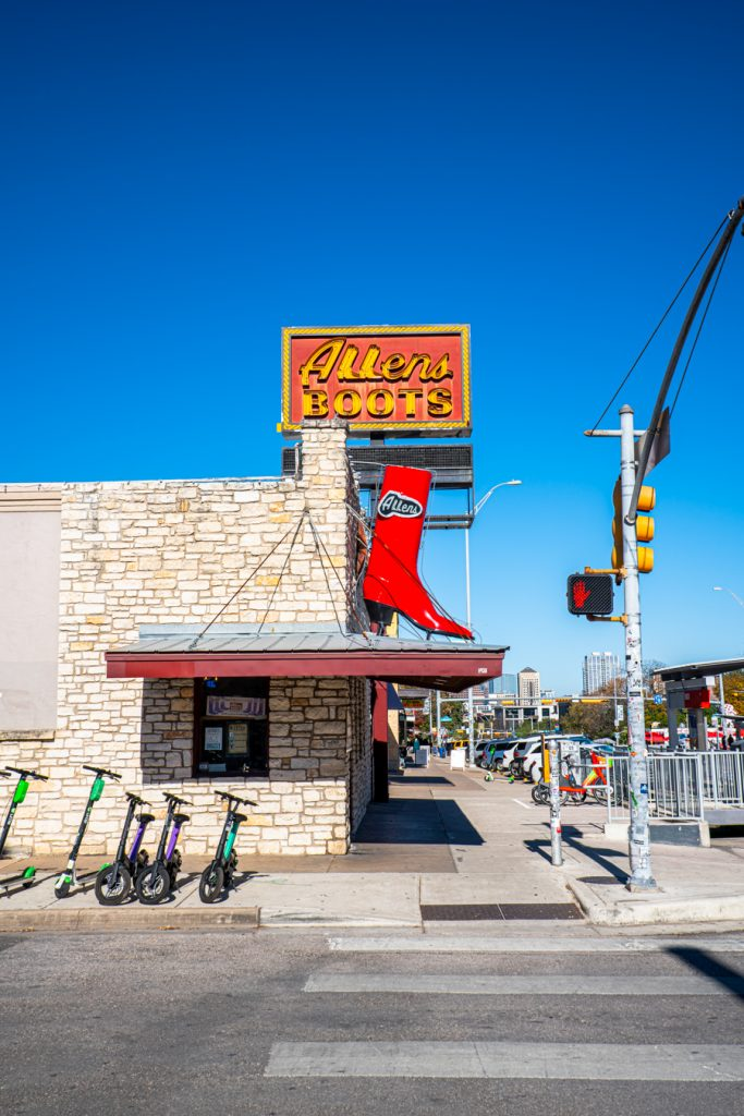 front facade of allens boots, an essential south congress shopping stop