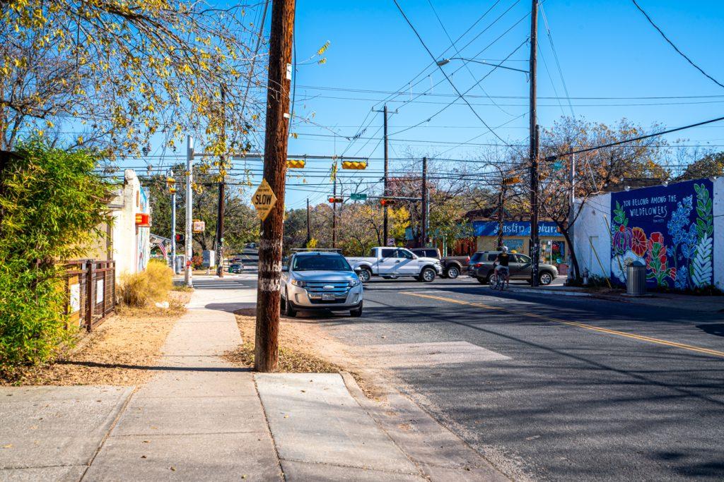 Annie Street looking toward Austin postcard mural