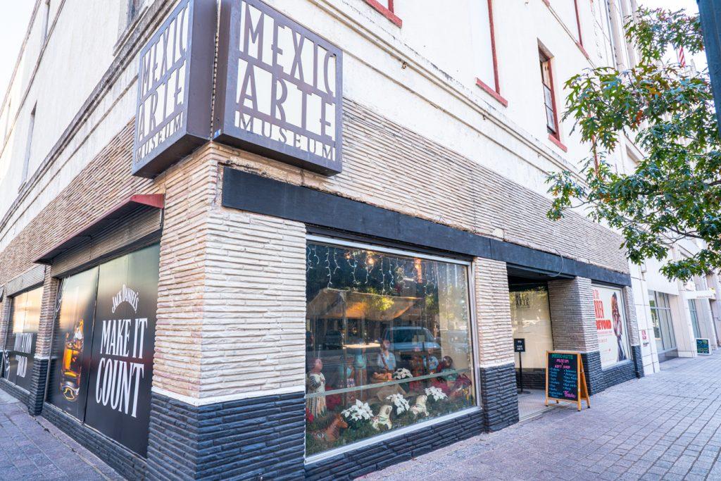 corner exterior of mexic-arte museum in downtown austin
