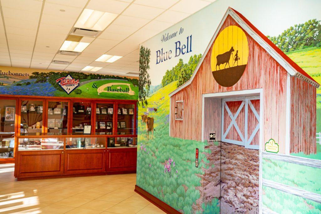 photo of Texas High School Baseball Museum and a mural on Blue Bell tour floor