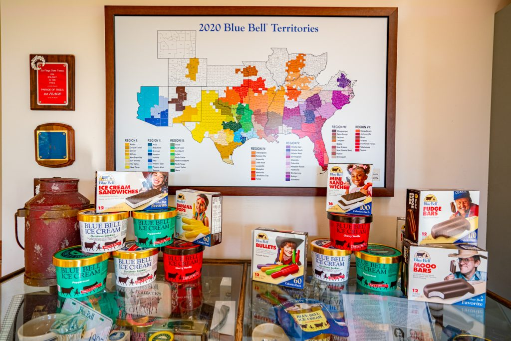 table in blue bell creameries brenham showing products plus a map of distribution around usa
