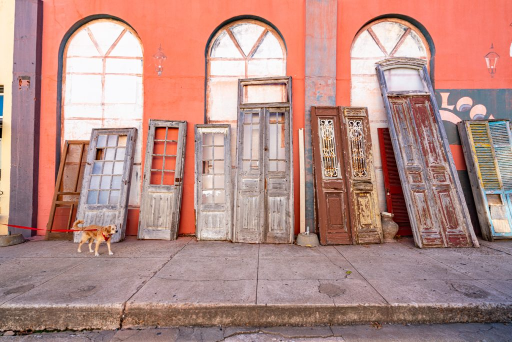 antique store in brenham tx with doors leaning against it and a yellow puppy Ranger walking into the shot