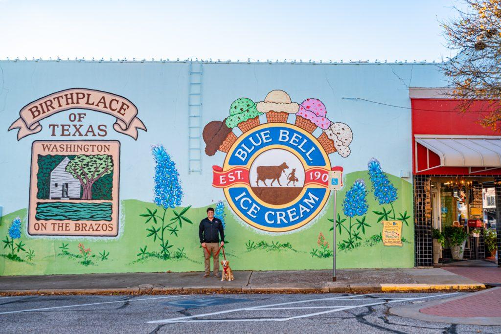 mural of blue bell logo downtown brenham