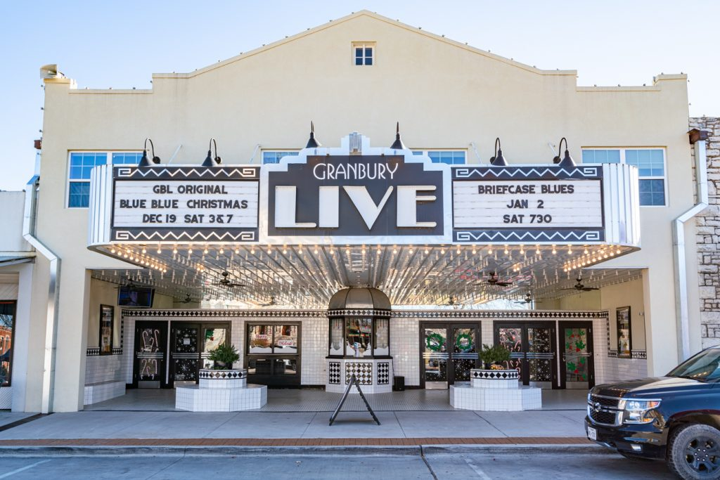 marquee of granbury live, one of the fun things to do in granbury attractions