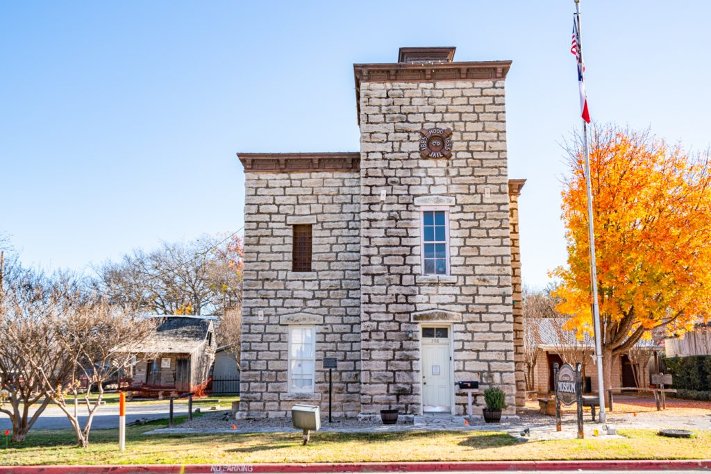 front facade of hood county jail museum