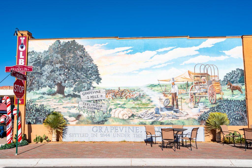 mural in downtown grapevine texas near main street