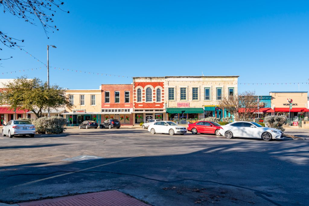 view of lampasas town square from the center