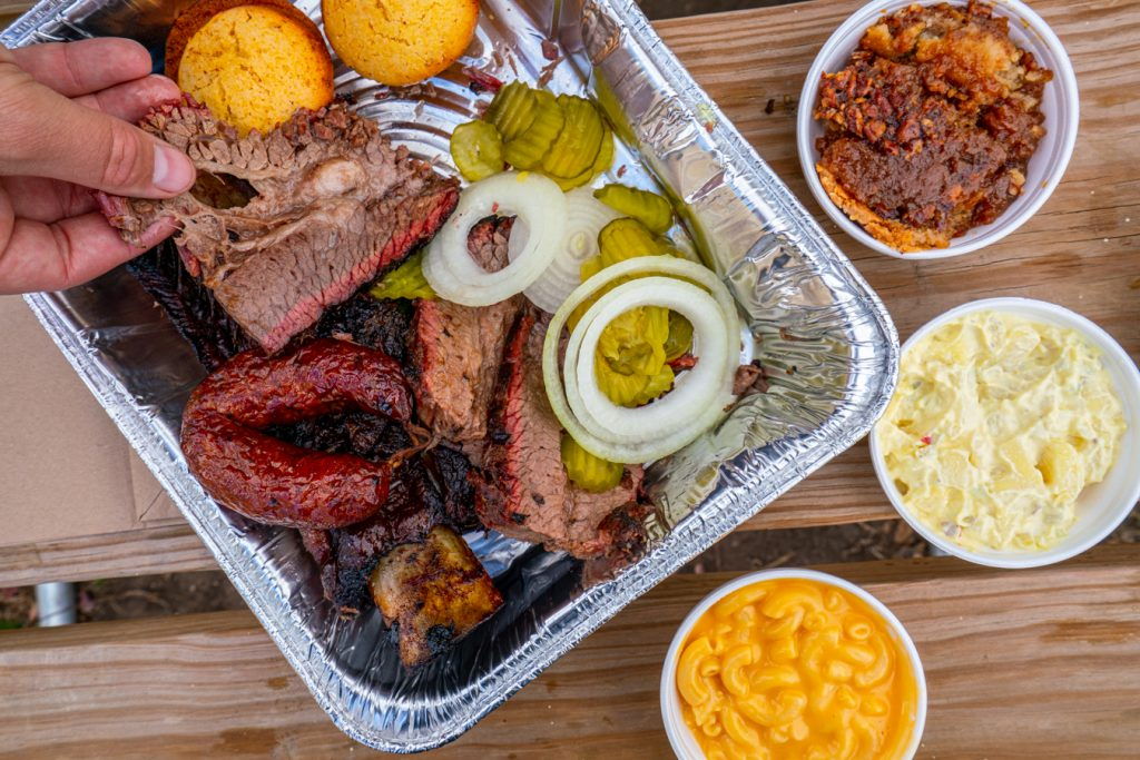 spread of barbecue from blacks barbecue lockhart. eating bbq in lockhard is one of the best things to do in the texas hill country