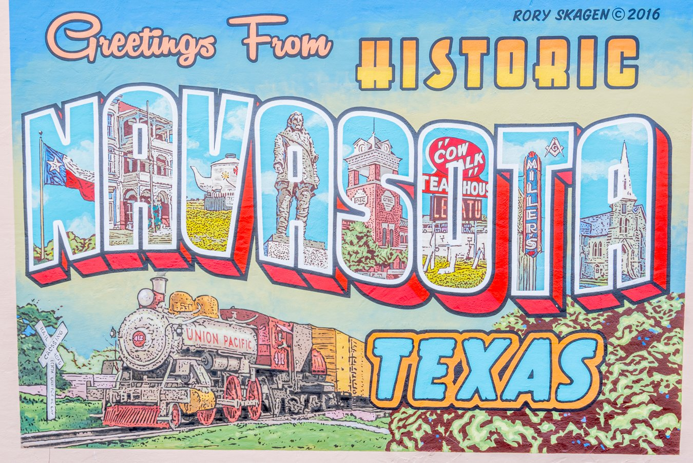 "close up of ""greetings from historic navasota"" mural, one of the best things to do in navasota texas"