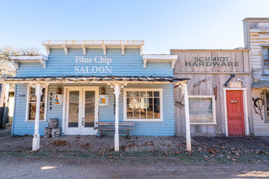 photo of blue chip saloon exterior in pioneer town
