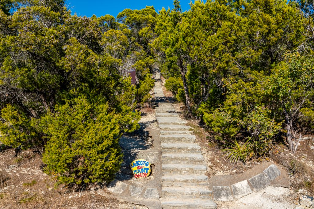 staircase leading up mount baldy in wimberley