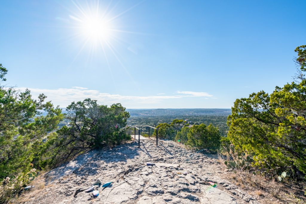 view of wimberley prayer mountain summit on a sunny day