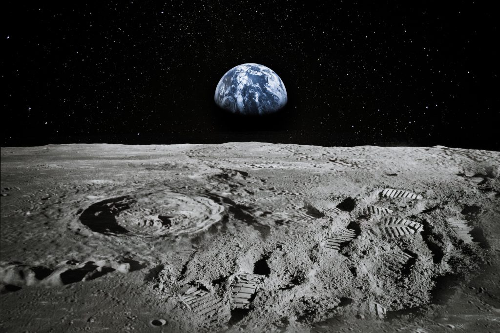 view of earth from the moon. there are several movies about space that are also movies set in texas