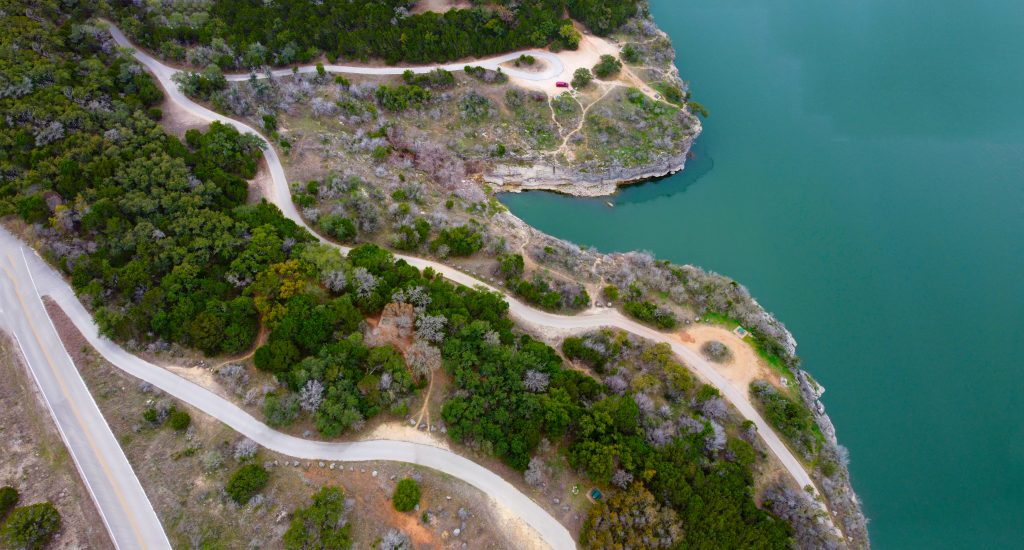 pace bend park as seen from above with lake travis on the right side of the photo