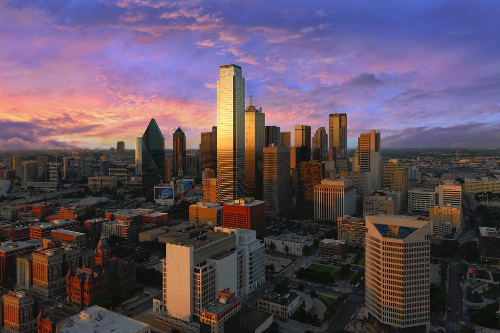 view of dallas skyline from reunion tower at sunset