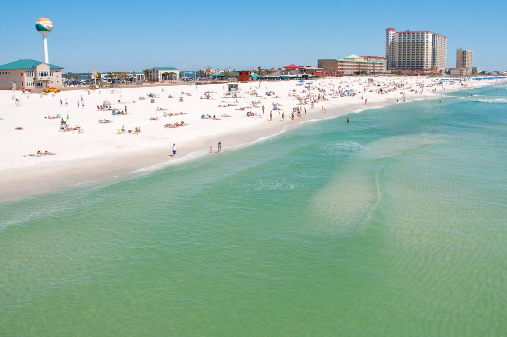 pensacola beach florida as seen from the water, one of the best weekend getaways from houston tx