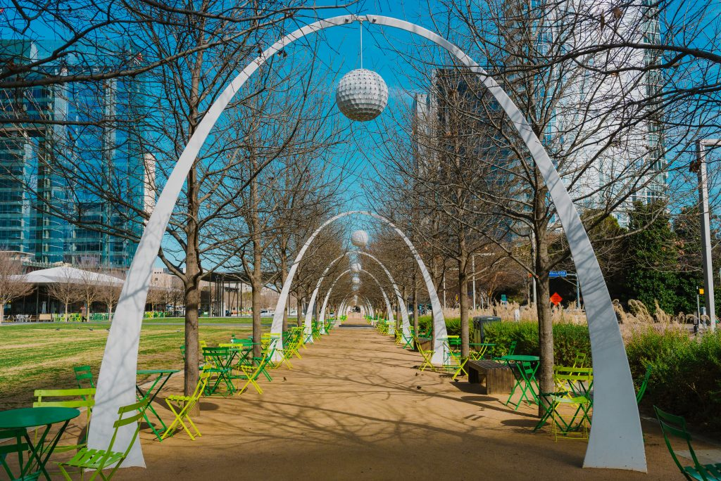 klyde warren park in dallas in winter on a sunny day, one of the best places in dallas for couples things to do