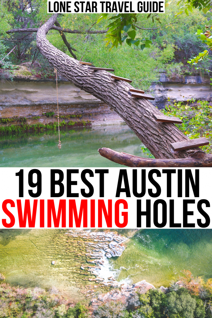 """photo of a rope swing over a creek and of sculpture falls from above, black and red text on a white background reads """"19 best austin swimming holes"""""""