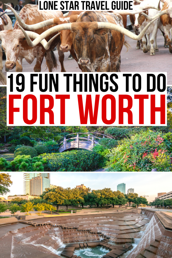 "3 photos of ft worth tx: longhorns, botanic garden, water gardens. black and red text on a white background reads ""19 fun things to do fort worth"""
