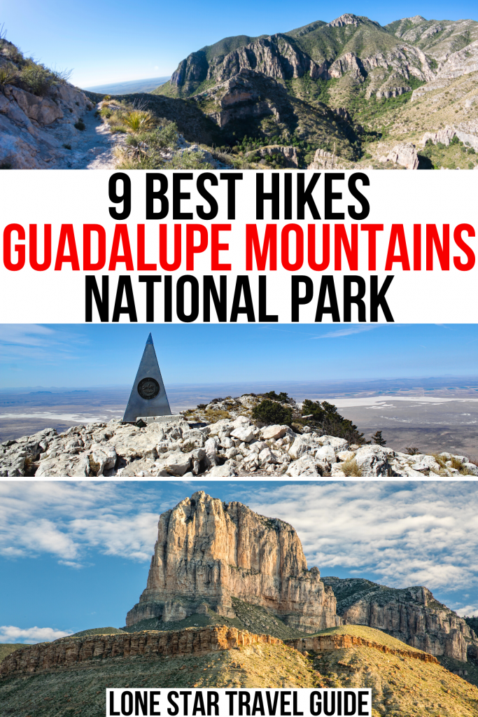 """3 photos of hiking trails in guadalupe np, including guadalupe peak and el capitan. black and red text on a white background reads """"9 best hikes guadalupe mountains national park"""""""