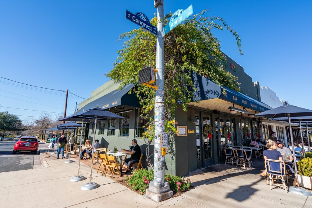 junes, one of the best restaurants on south congress, as seen from the corner