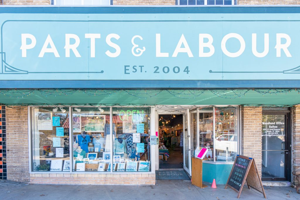 front facade of parts and labour, one of the best shops on south congress to visit during a 3 day weekend Austin itinerary