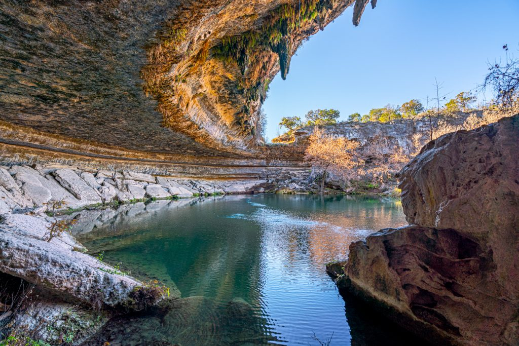 hamilton pool in dripping springs, home to one of the best beaches near austin tx