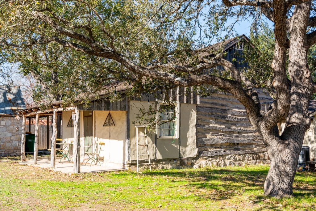 historic log cabin in historic district castroville texas