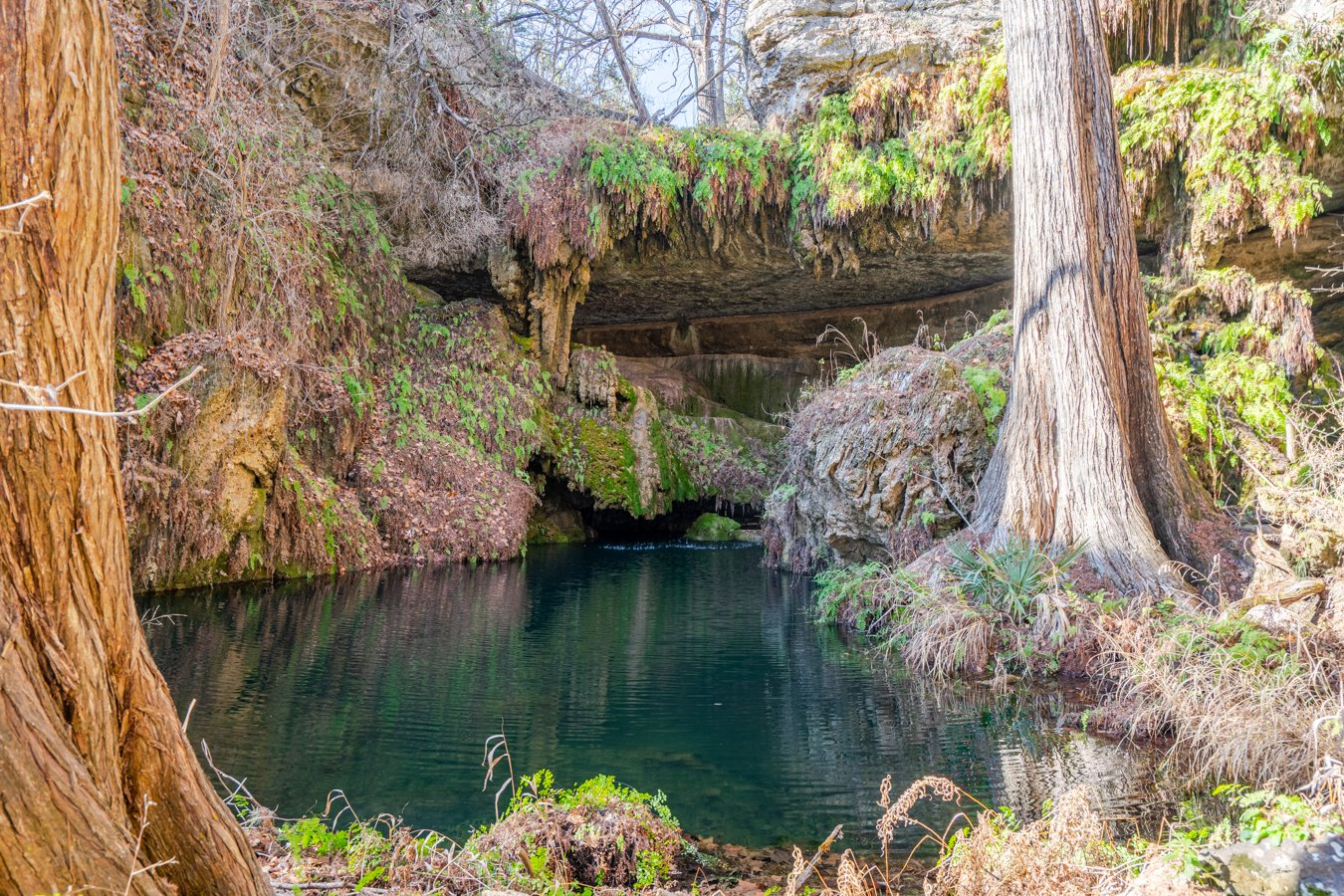 waterfall of westcave preserve, an amazing stop on a texas hill country road trip itinerary