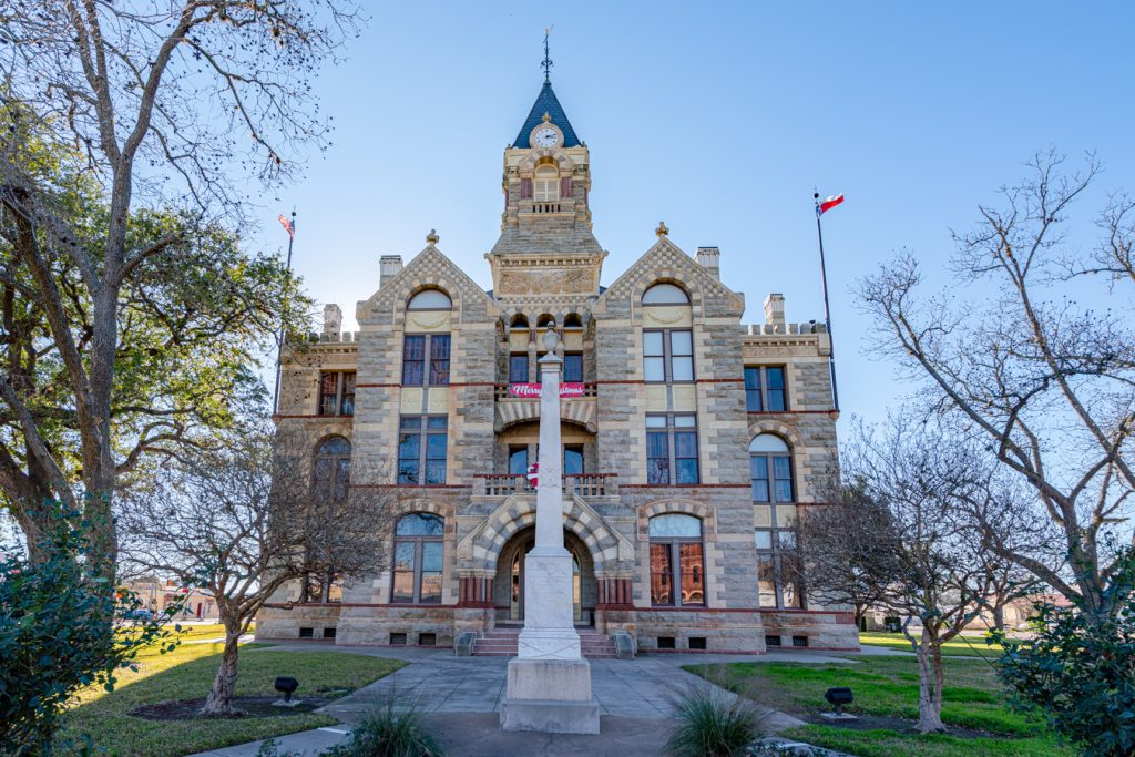 front facade of the fayette county courthouse in la grange, one of the czech towns in texas