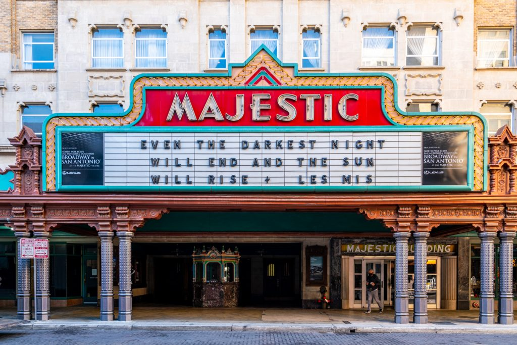 front facade of the majestic theater in san antonio texas